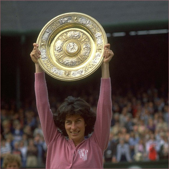 Virginia Wade holding up the Wimbledon Plate 1977