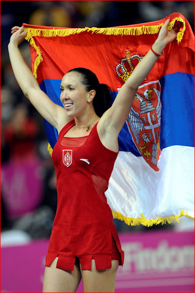 JJ carrying the flag for Serbia in the Federation Cup