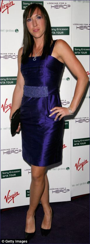 Jelena Jankovic in purple cocktail frock