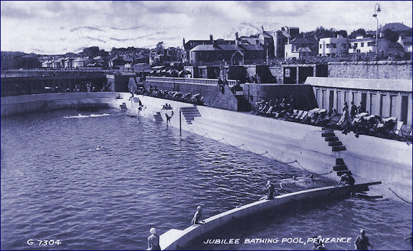 Jubilee Pool circa 1949 overlooked by the Yacht Inn