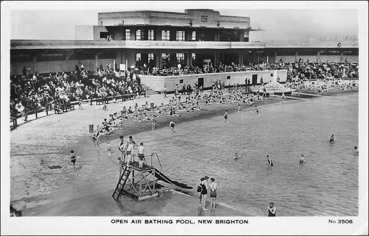 Postcard of the Open Air Bating Pool, New Brighton 1930s