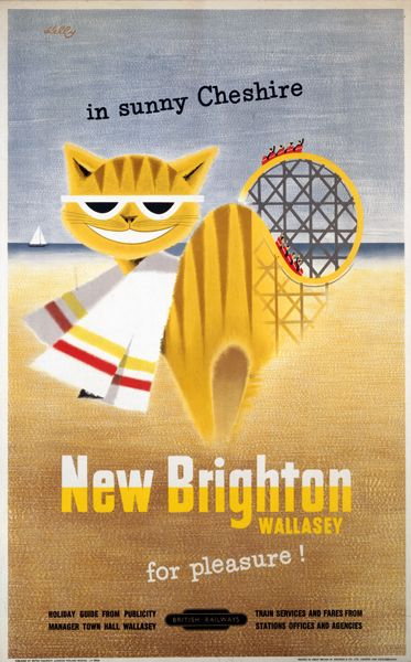 New Brighton by the Sea Cat Poster
