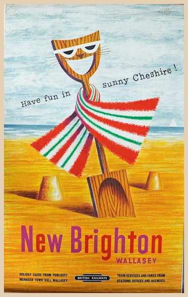 New Brighton Wallasey in sunny Cheshire featuring a bucket and spade poster
