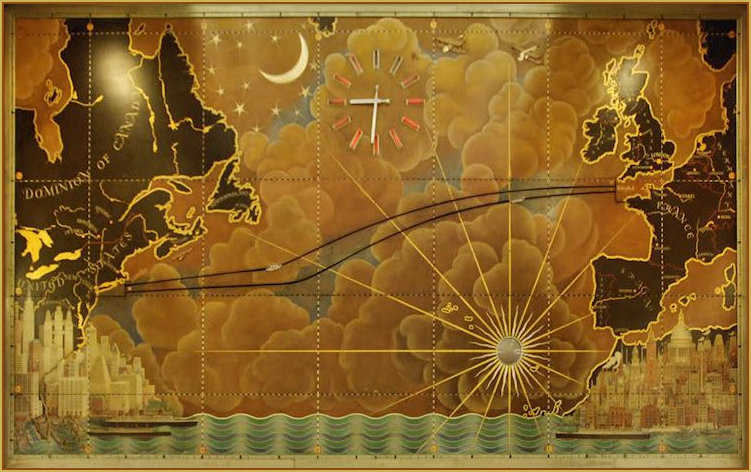 Art deco travel sea queen mary map actual gumiabroncs Gallery