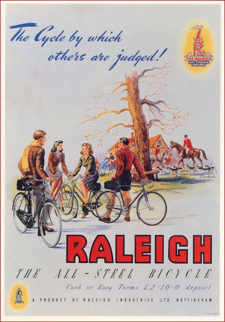 Poster extolling the vitues of the Raleigh Bicycle