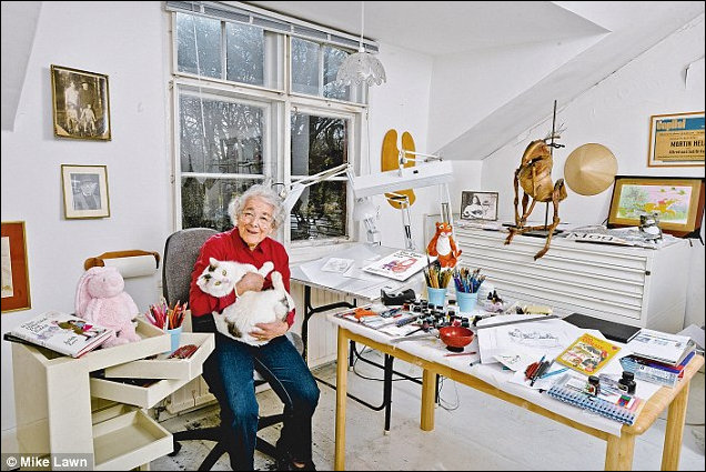 Judith Kerr in her Studio with Katinka