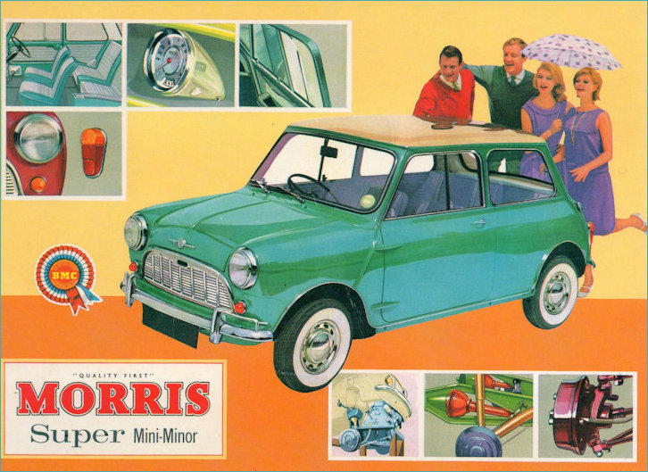 Postcard ad for Morris Super Mini-Minor