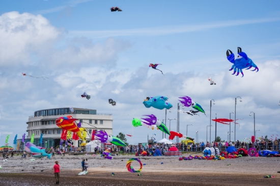 Kites on the beach behind the Midland Hotel in Morecambe