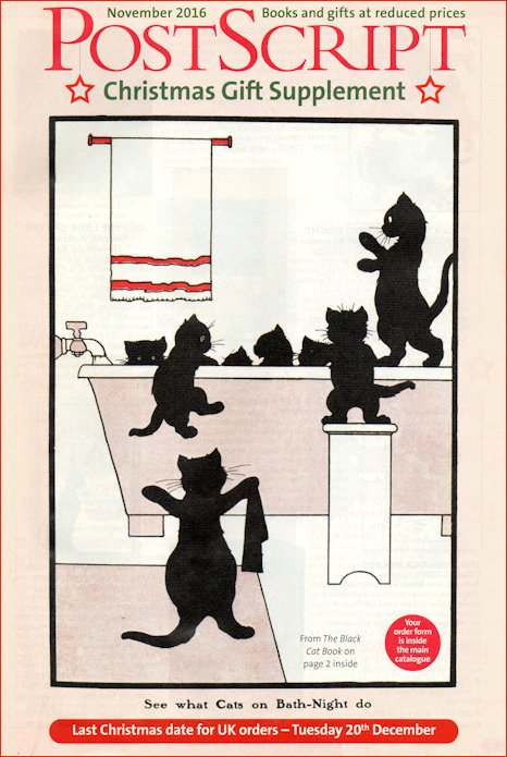 Postscript Books Christmas Gift Supplement cover featuring black cats