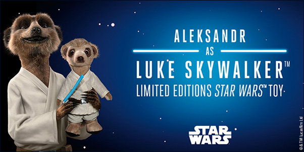 Aleksandr with toy of himself as Luke Skywalker