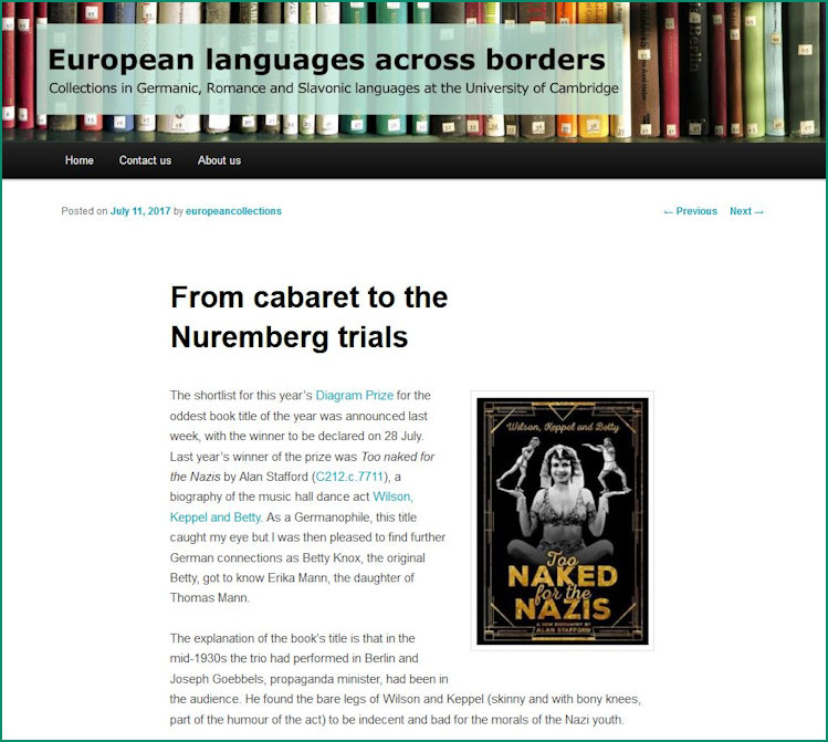 Screenshot of From Cabaret to website page