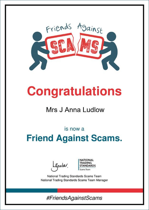 Friend Against Scams Certificate