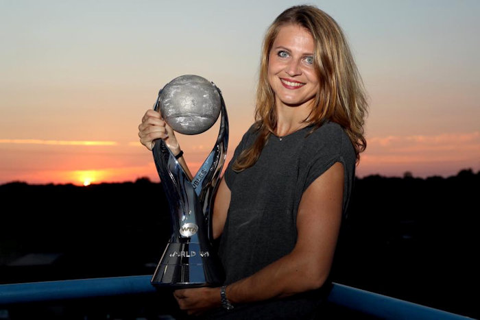 Safarova with Doubles World no 1 cup