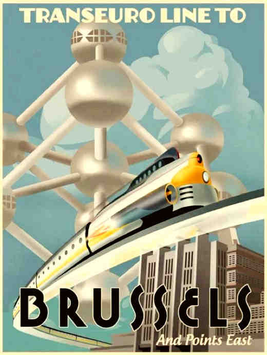 Brussels Train Travel Poster
