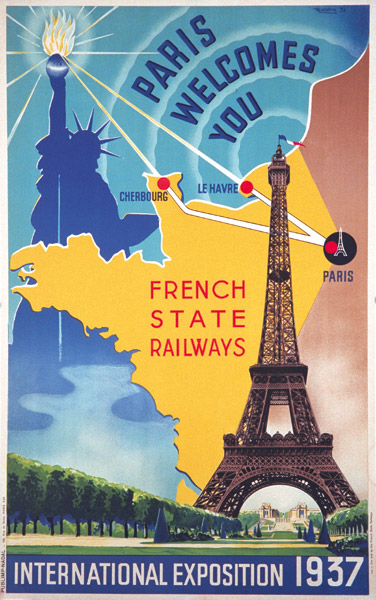 French State Railways poster for the 1937 Paris Expo