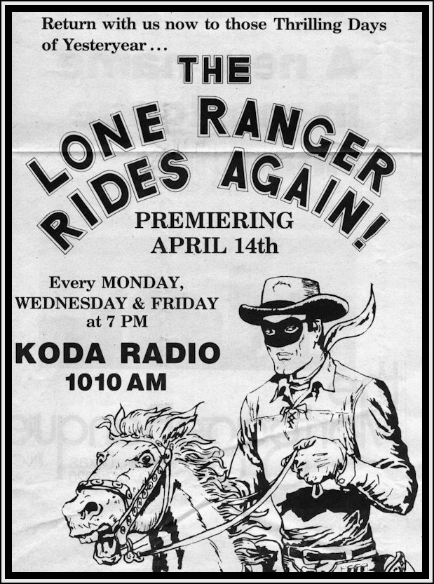 Newspaper Ad for Lone Ranger Radio Show