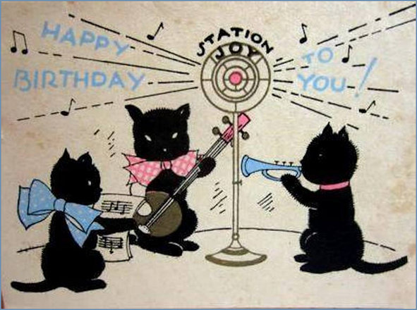 1930s Birthday Card featuring musical instrument playing cats