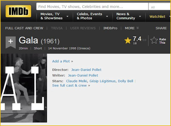 IMDB shot of 1961 film Gala