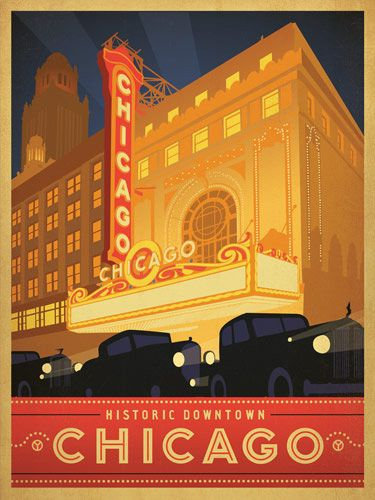 1930s Cars Chicago Poster