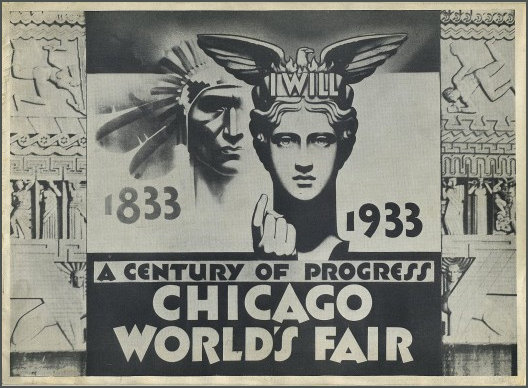 Detail of the 1933 Official poster for the Chicago World's Fair in 1933