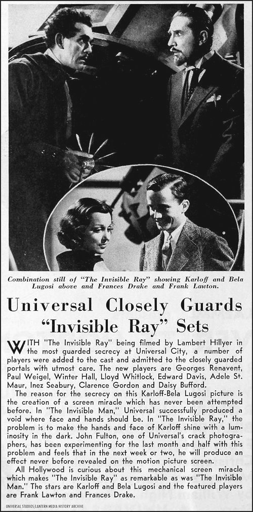 Universal Weekly article about Invisible Ray