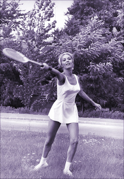 Michele Mercier playing tennis in 1966