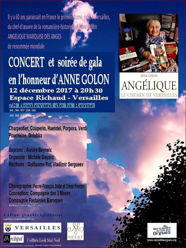 Poster for concert to be held in memory of Anne Golon December 2017