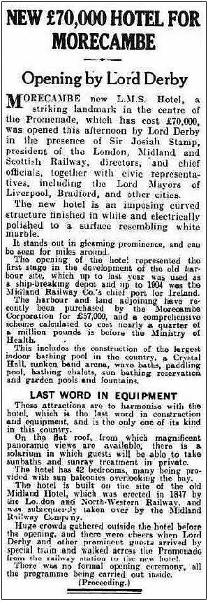 New Hotel opens July 1933