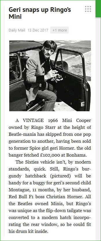 Ringo Starr sells Mini to Gerri Halliwell