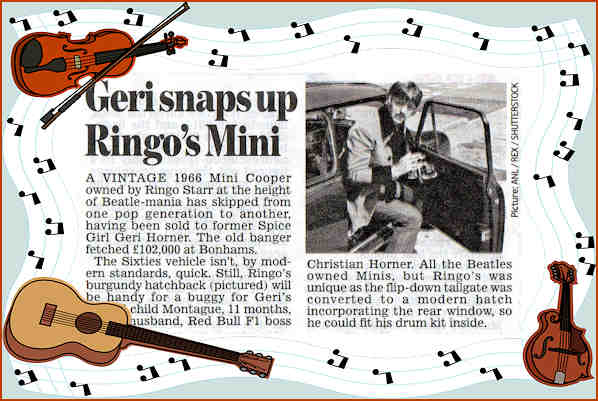Ringo Starr's Mini sold to Geri Halliwell
