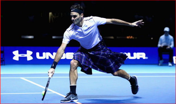 Roger Federer and kilt in action