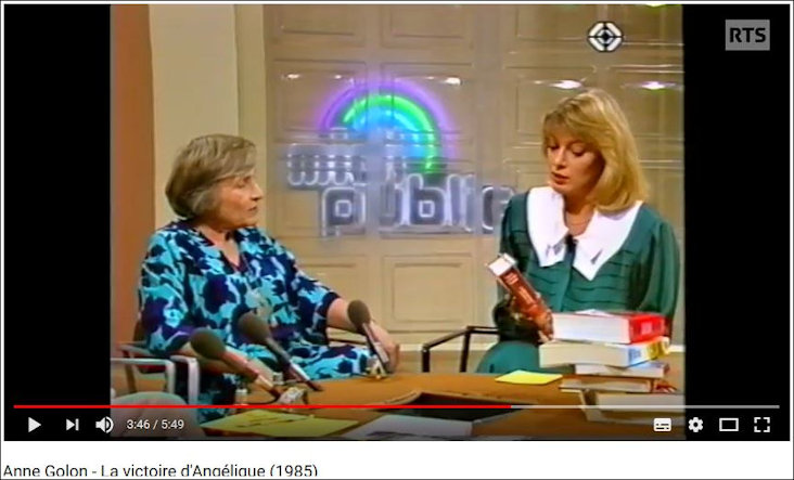 Anne Golon interviewed on RTS on publication of Victoire in 1985