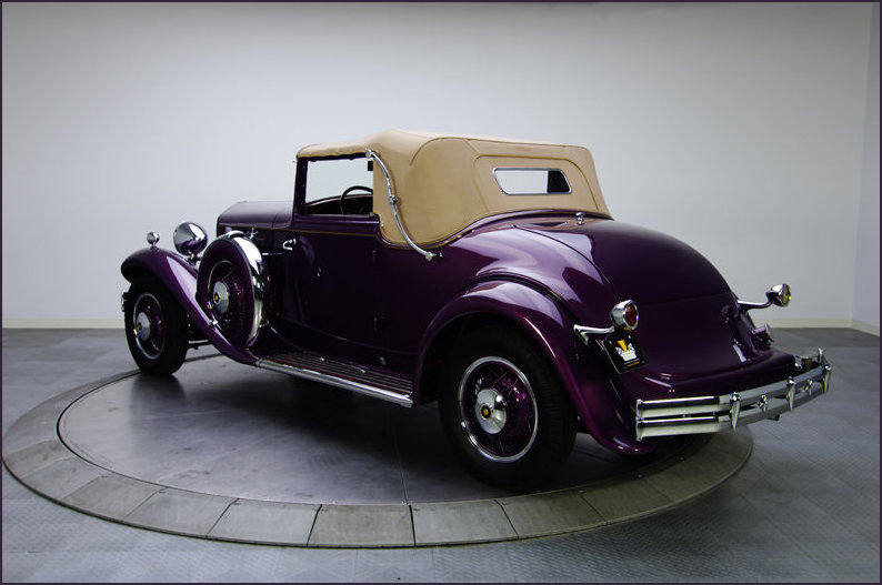 Rear view of The 1931 Reo Royale hood up