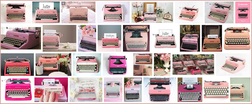Multiple examples of pink typewriters