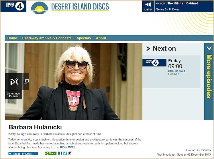Barbara featuring in Desert Island Discs which was originally broadcast on 8th December 2013