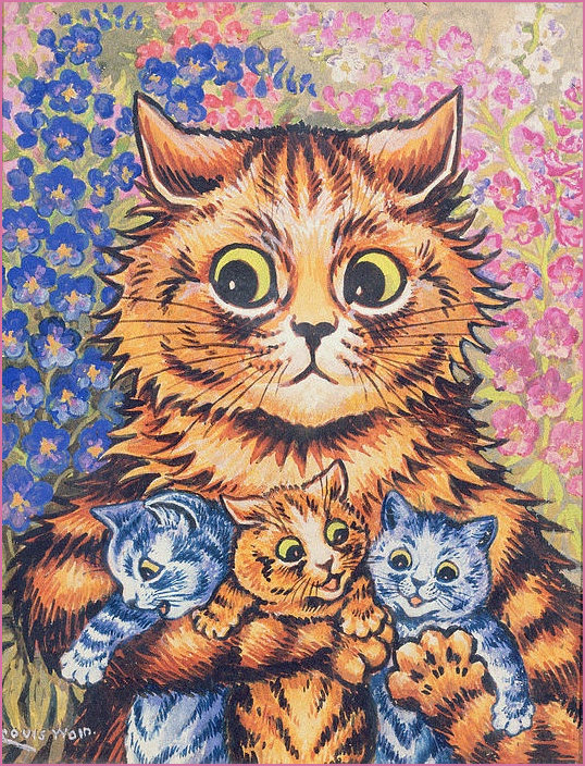 Mother Cat and Kittens by Lousi Wain