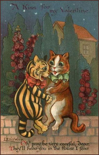 Valentine Cats by Louis Wain