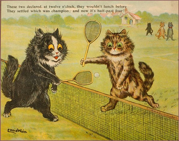 Cats at the Net playing tennis