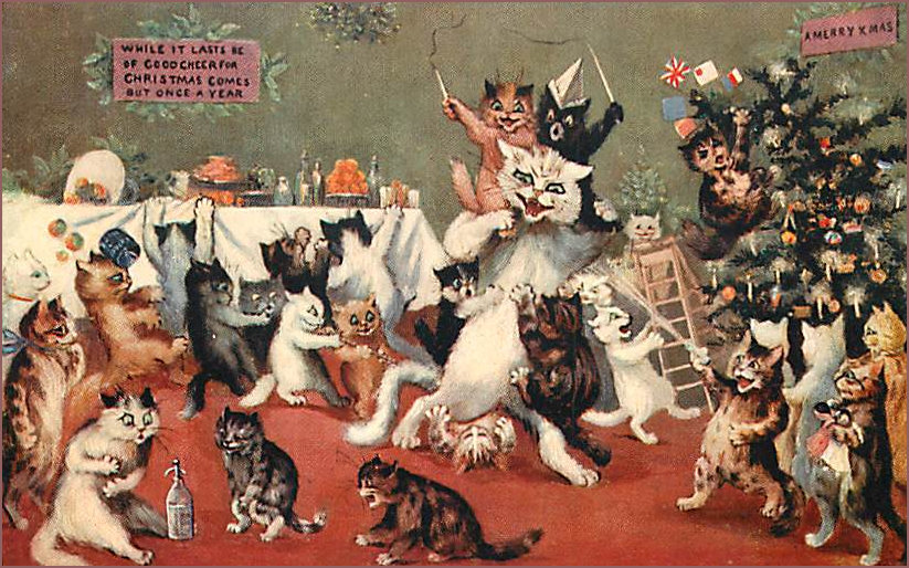 General Christmas frolicking cats