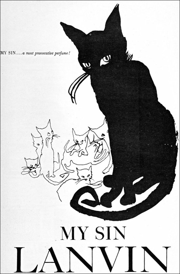 1920s drawn advert for Lanvin cat logo