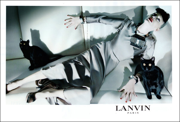 Modern take on Lanvin Paris using real black cats