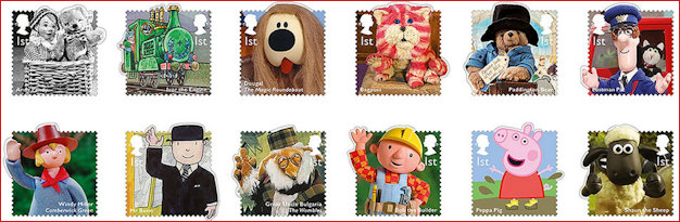 Set of Stamps featuring TV favourites