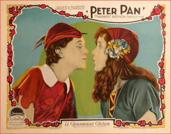 Peter Pan 1924 Silent Movie Lobby Card Peter and Wendy pucker up