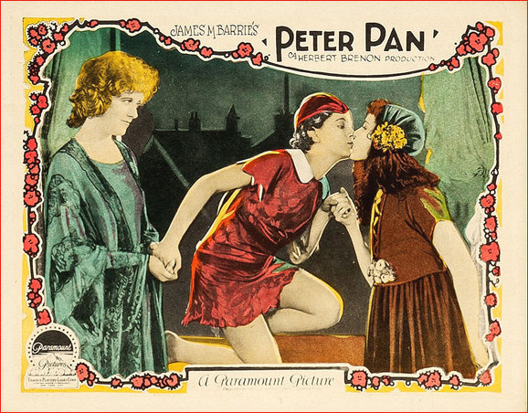 Peter Pan 1924 Silent Movie Lobby Card scene depicting Peter and Wendy in the nursery with Mrs Darling