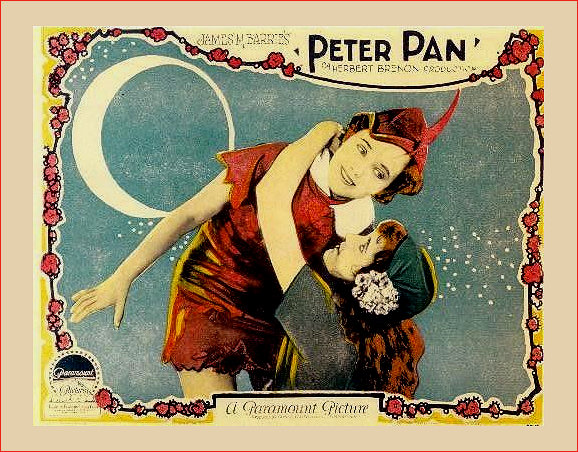 Peter Pan 1924 Silent Movie Lobby Card scene depicting Wendy hanging on to Peter as they take flight