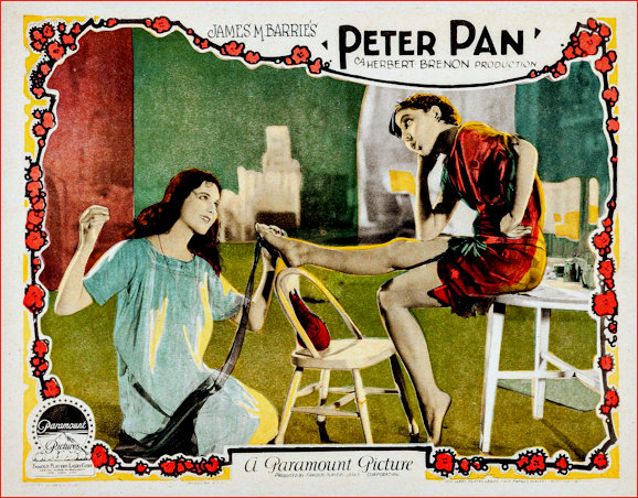 Peter Pan 1924 Silent Movie Lobby Card scene depicting Wendy sewing on the lost shadow