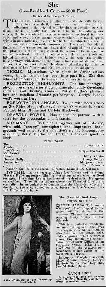 Film Review of She in 1926