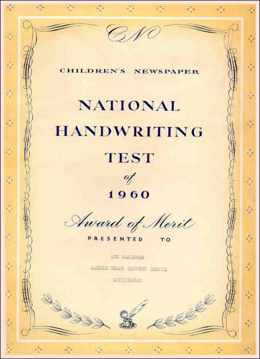 National Handwriting Test Certificate
