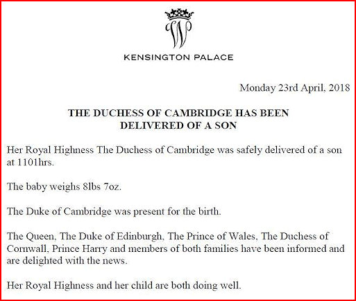 Details of Royal Birth from Kensington Palace