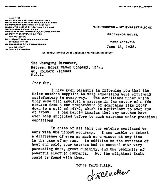 Letter as seen on the Rolex ad